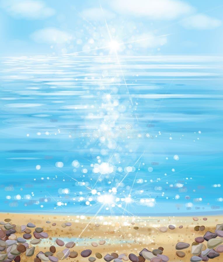 Océan de vecteur avec le ciel bleu, la plage sablonneuse et les pierres illustration de vecteur