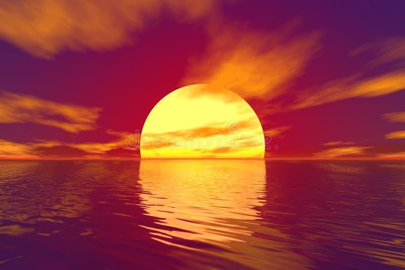 Océan et coucher du soleil illustration de vecteur