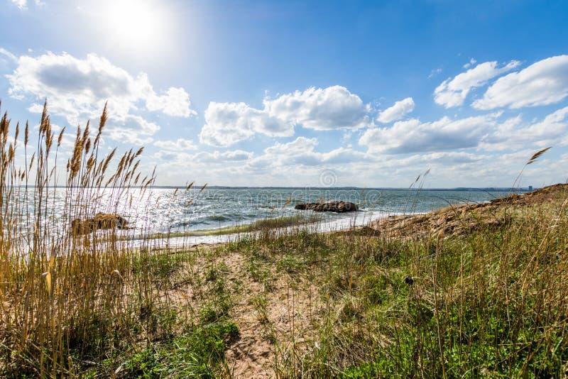 Océano Atlántico en parque del punto del faro en New Haven Connecticut imágenes de archivo libres de regalías