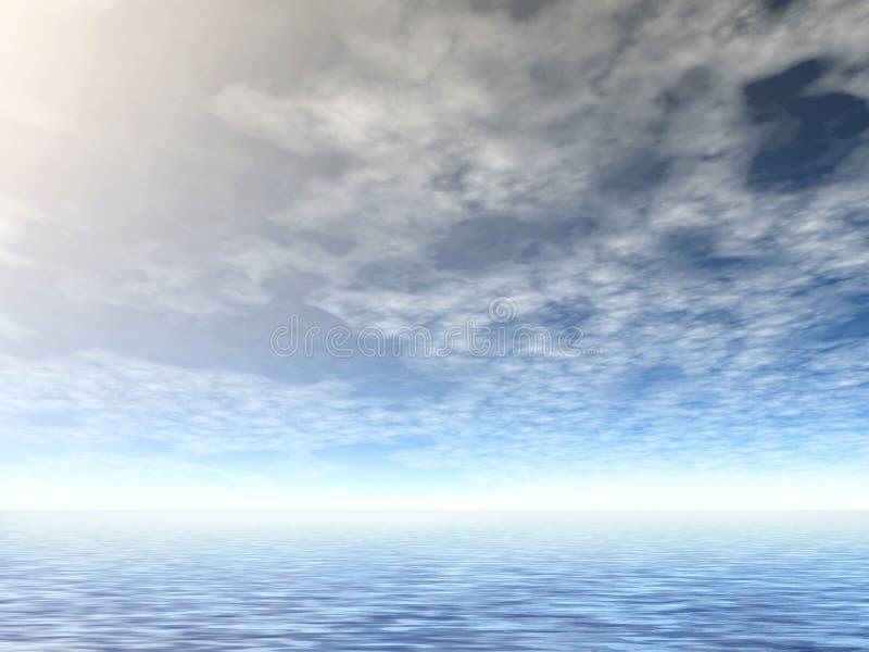 Océano brumoso stock de ilustración
