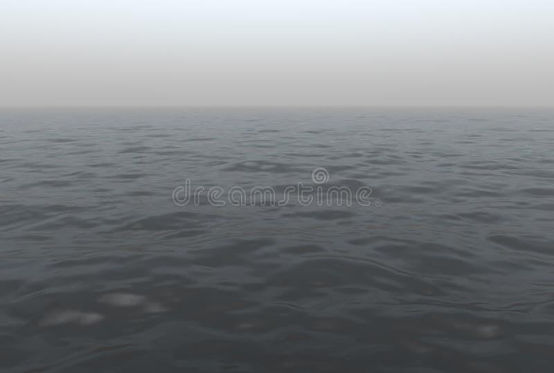 Océano brumoso escénico stock de ilustración