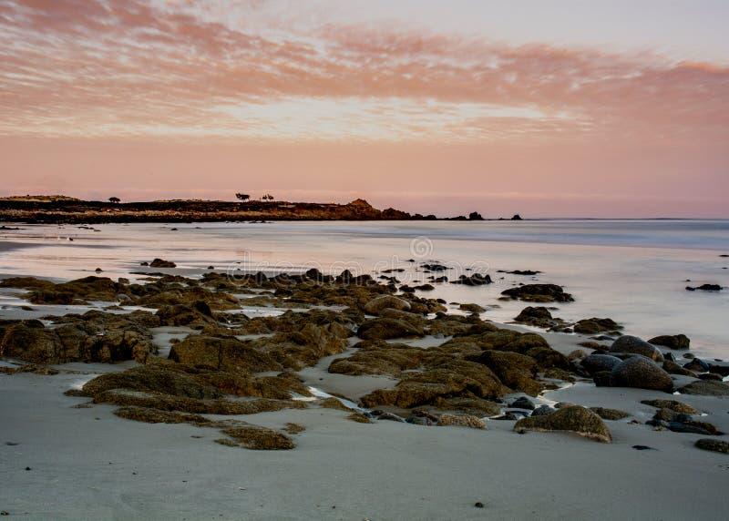 Océano cerca de Pebble Beach en la arboleda pacífica, California, los E.E.U.U. imagen de archivo