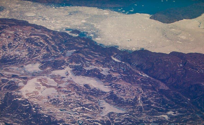 Océano del agua helada de Groenlandia de los glaciares de fusión fotografía de archivo