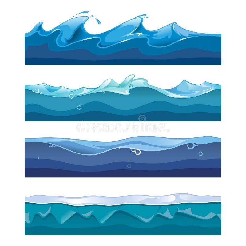 Océano inconsútil, mar, vector de ondas de agua libre illustration