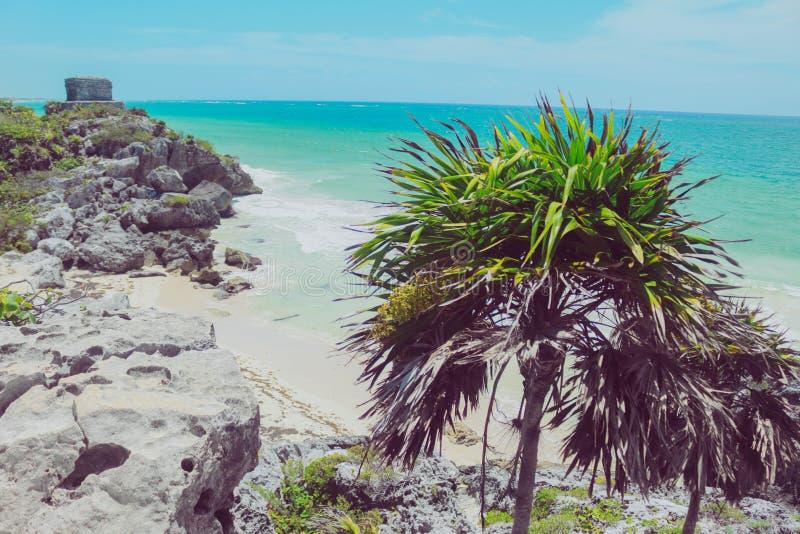 Océano maya de México tulum de las ruinas foto de archivo libre de regalías