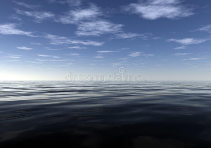 Océano tranquilo y pacífico meditativo stock de ilustración