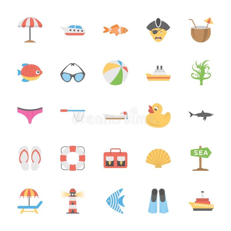 Océano y colección de los iconos del vector de la vida marina stock de ilustración