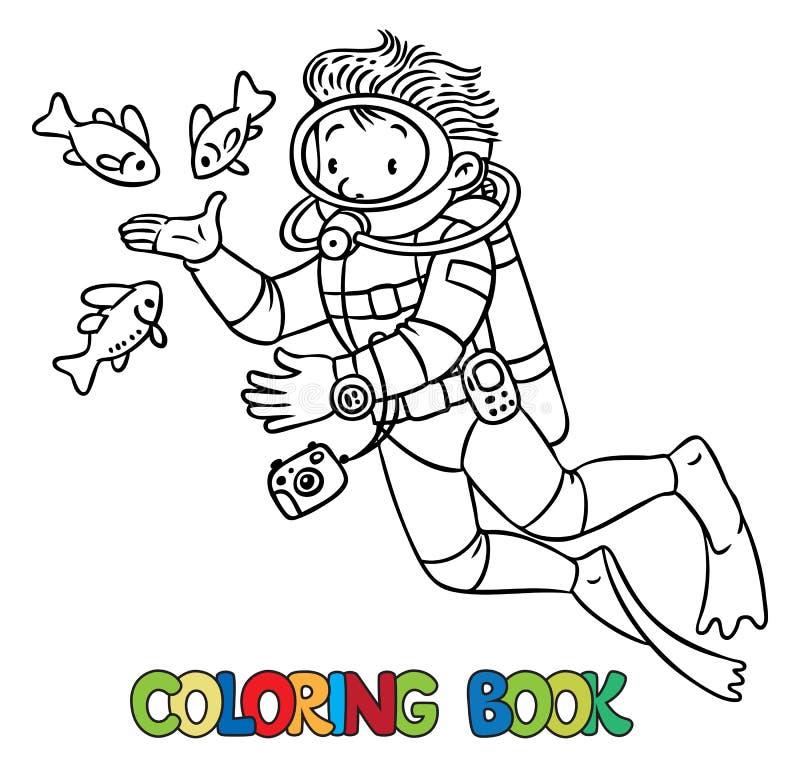 Océanographe ou plongeur drôle Livre de coloration illustration libre de droits