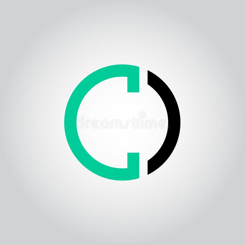 Initial Letter logo C inside circle shape, OC, CO, C inside O rounded lowercase black and green color Vector royalty free illustration