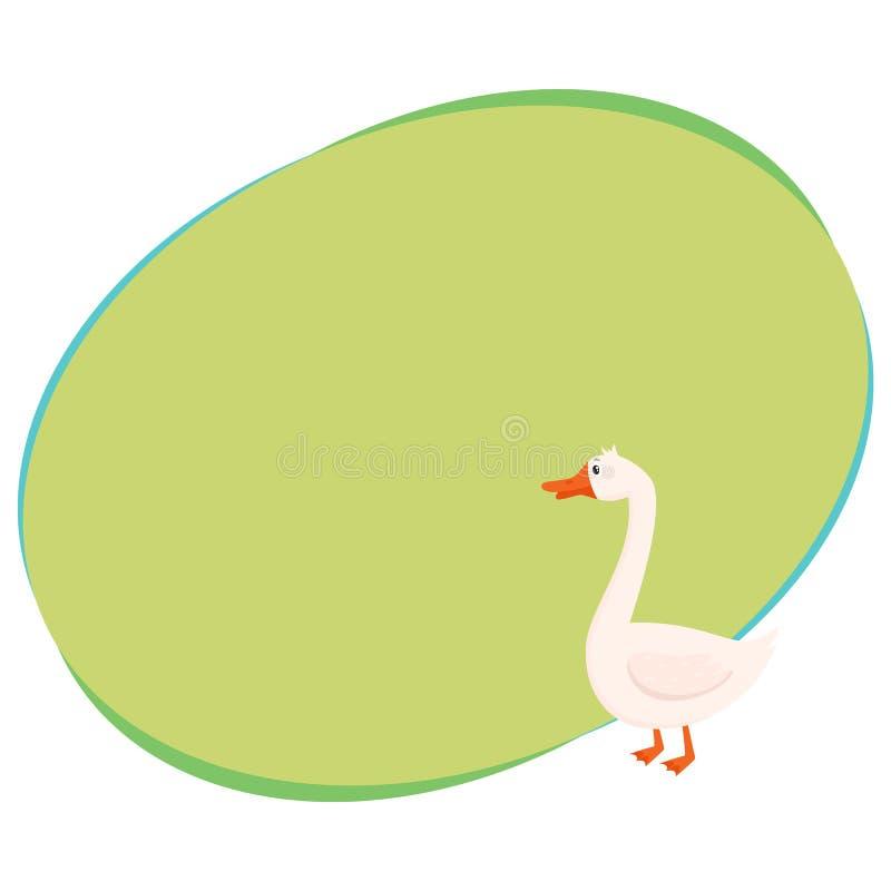 Oca bianca sveglia e divertente dell'azienda agricola, illustrazione isolata di vettore del fumetto illustrazione di stock