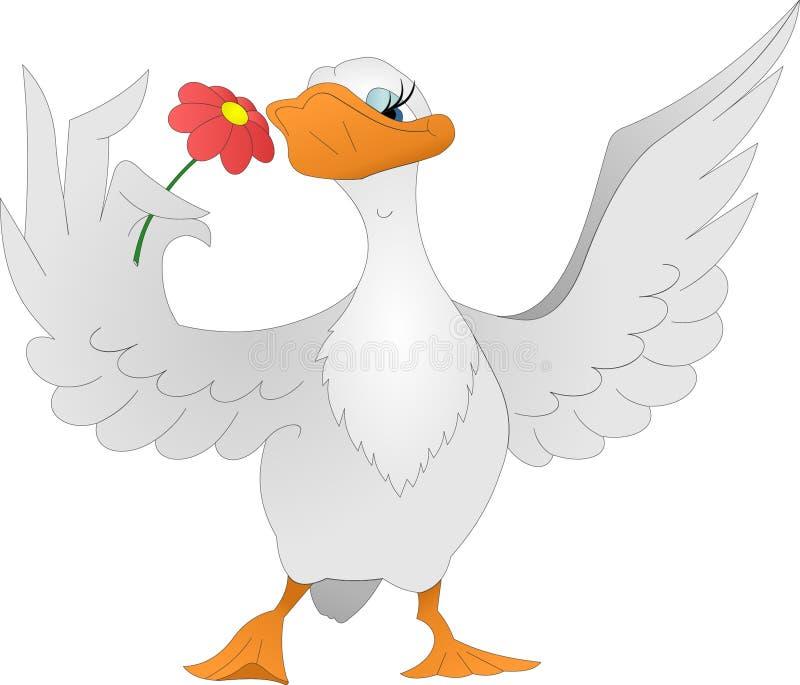 Oca con il fiore illustrazione vettoriale