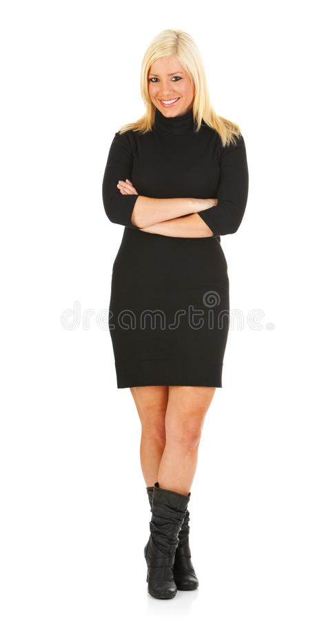 Ocasional: A mulher bonita está no vestido ocasional imagens de stock royalty free