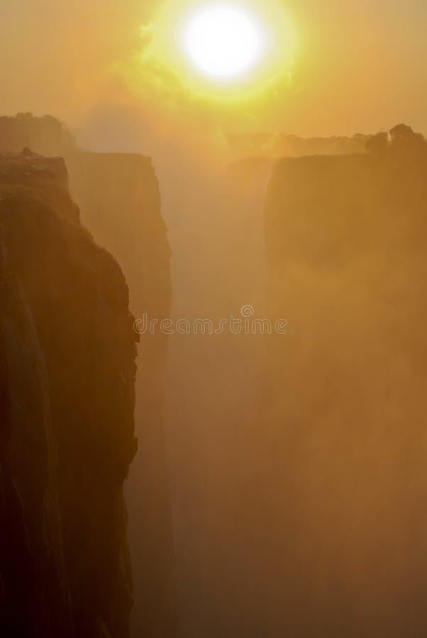 Ocaso de Victoria Falls fotografía de archivo
