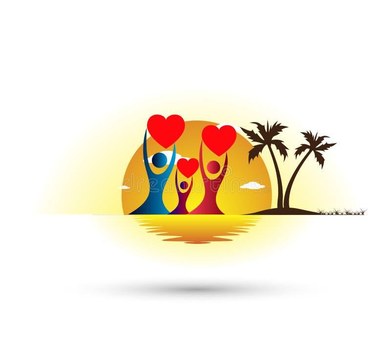 Ocaso del día de fiesta del turismo del hotel del árbol de la playa que iguala diseño del logotipo del vector de la palmera de co ilustración del vector