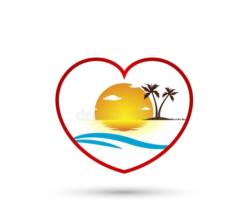 Ocaso del día de fiesta del turismo del hotel del árbol de la playa que iguala diseño del logotipo del vector de la palmera de co libre illustration