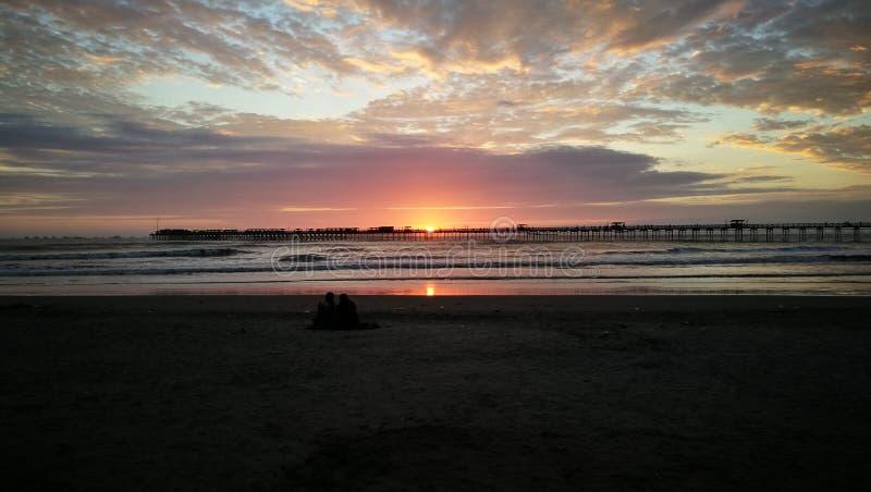 Ocaso en playa royalty free stock images
