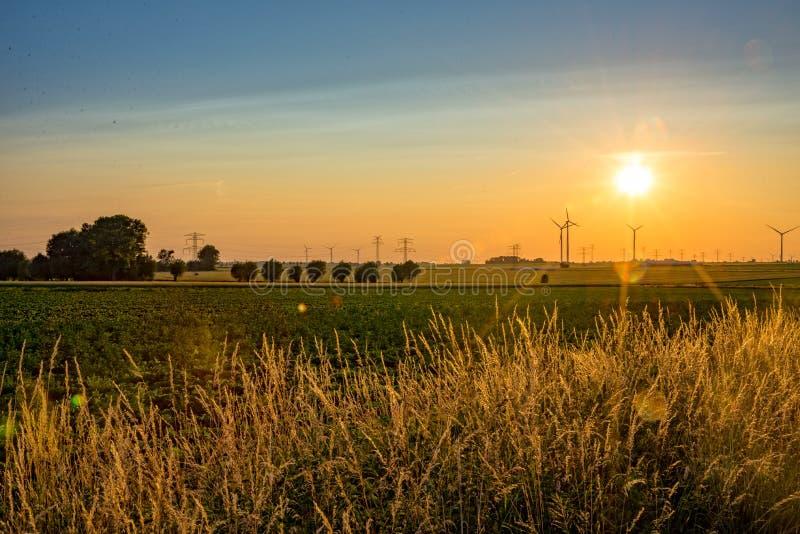 Ocaso sobre un campo en un pueblo fotografía de archivo libre de regalías