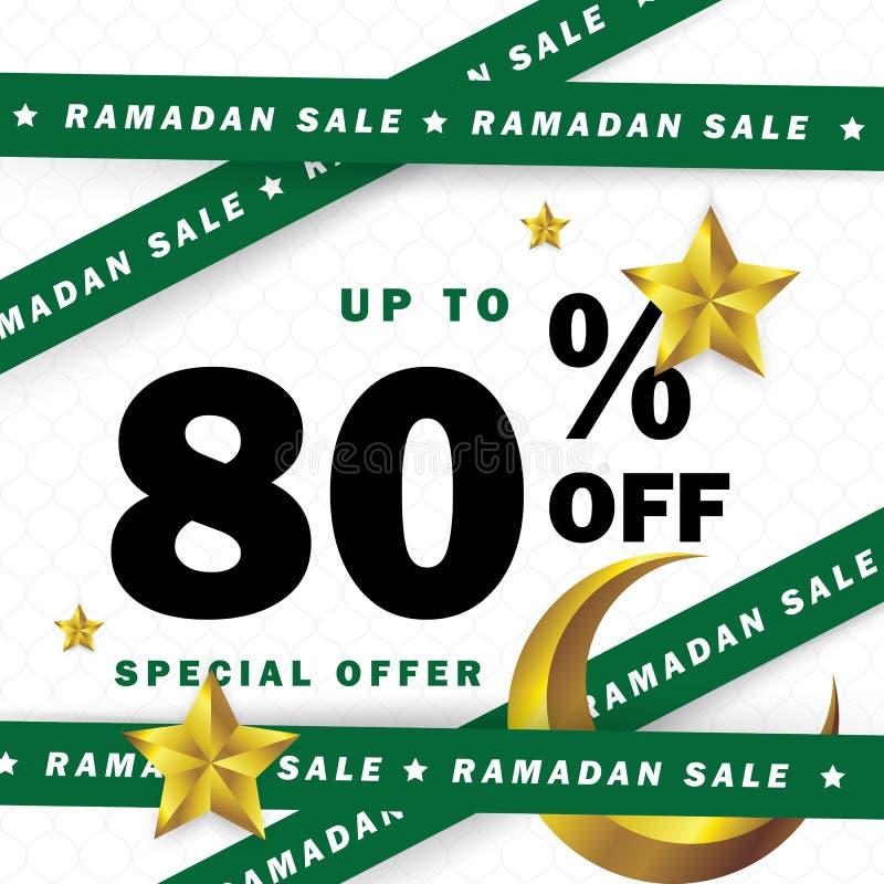 Occasion d'insecte, de vente, de remise, de label ou de bannière de Ramadan Kareem et d'Eid Mubarak Celebration avec des rubans illustration libre de droits