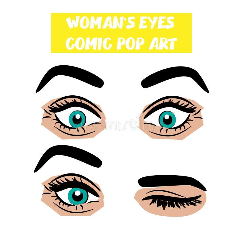 Occhi comici della donna di strizzatina d'occhio di sorpresa del fumetto di Pop art illustrazione di stock