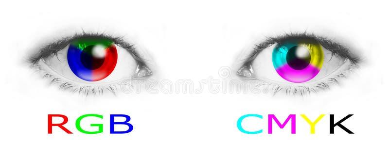 Occhi con i colori di CMYK e di RGB royalty illustrazione gratis