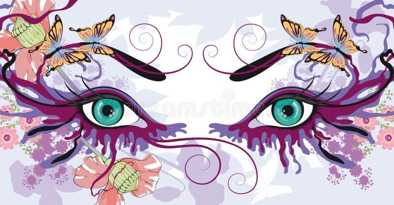 Occhi con i disegni floreali illustrazione vettoriale