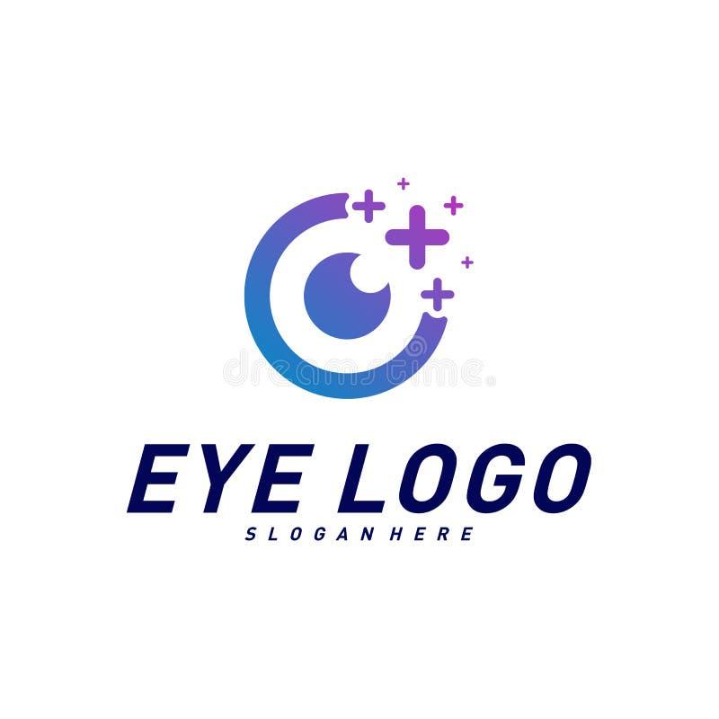 Occhi con il vettore di concetto di progetto di logo di salute delle icone Modello di logo dell'occhio di salute Simbolo dell'ico illustrazione vettoriale