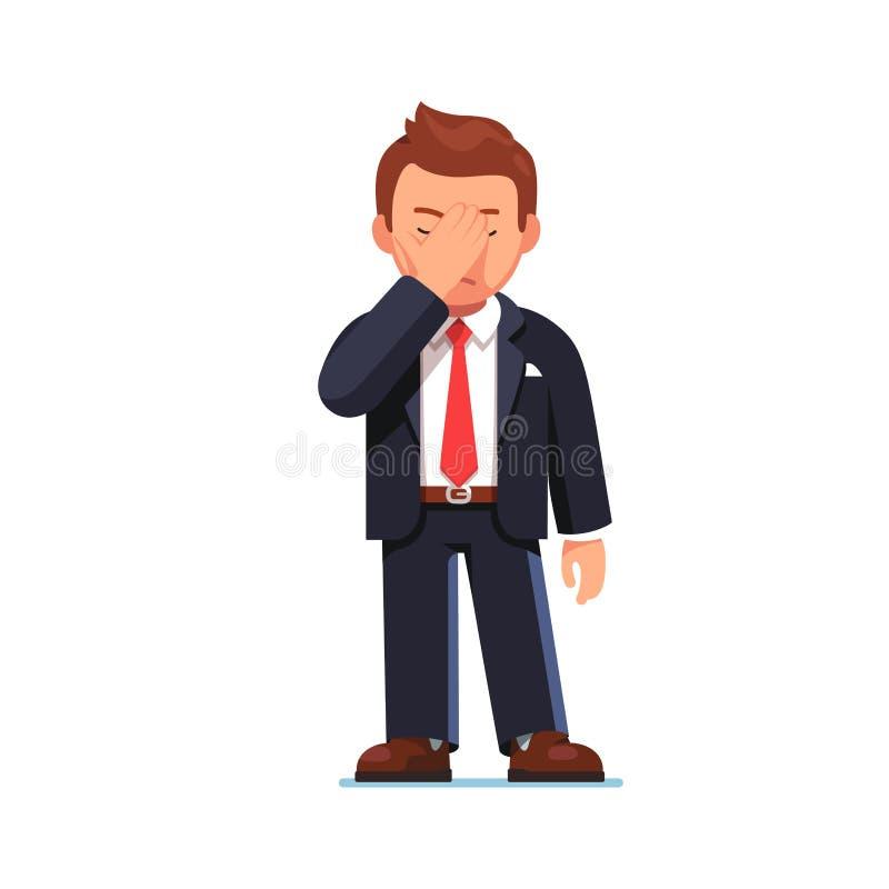Occhi della copertura dell'uomo d'affari che mostrano gesto del facepalm royalty illustrazione gratis