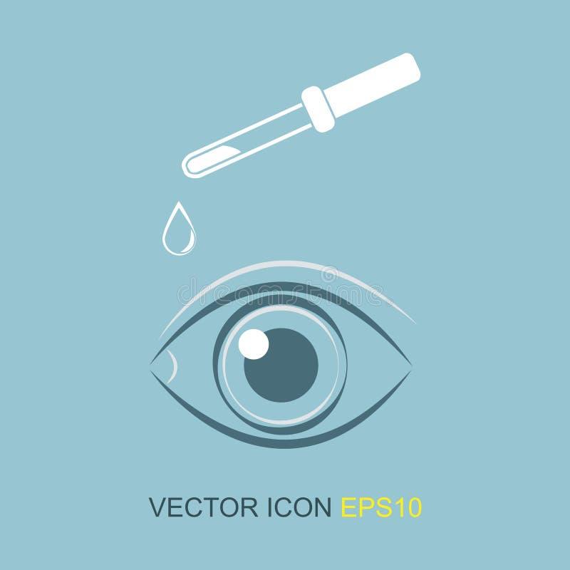Occhi della siluetta Illustrazione di vettore Immagine degli occhi e di una pipetta illustrazione di stock