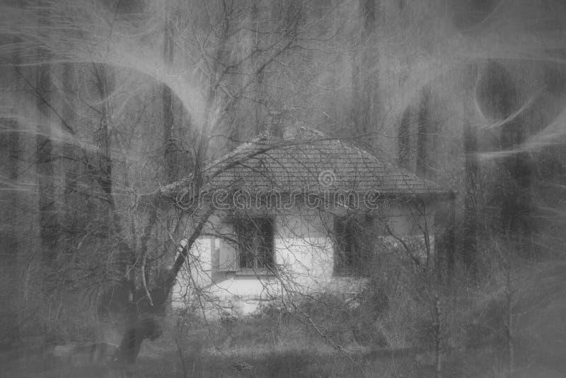 Occhi demoniaci sopra la casa abbandonata fotografie stock libere da diritti
