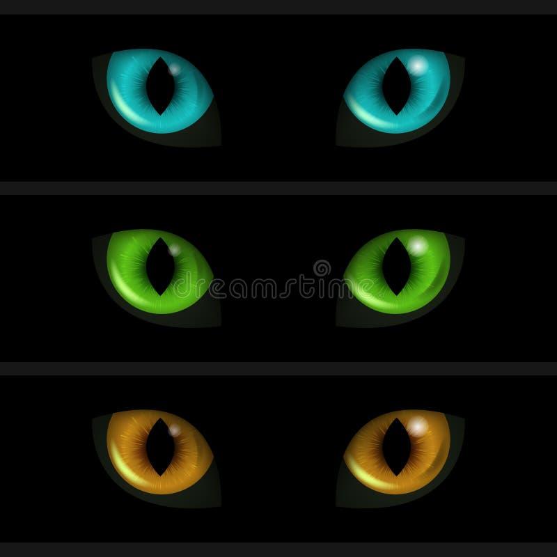 Occhi di gatto su fondo nero Un insieme di tre elementi royalty illustrazione gratis