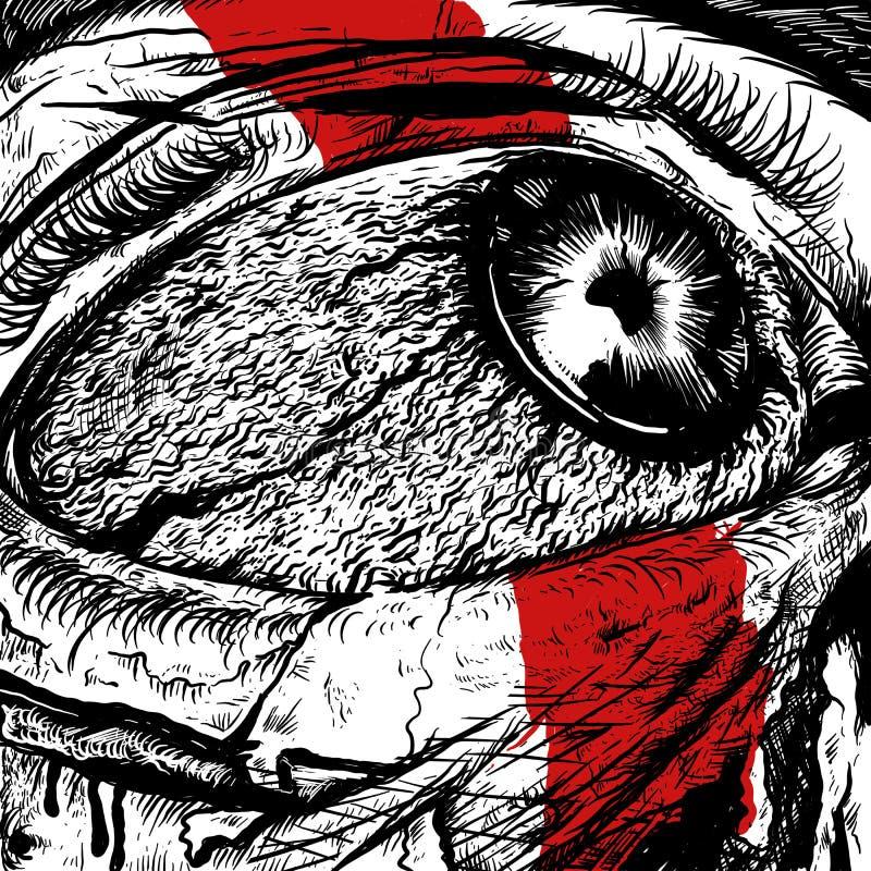Occhi di progettazione dolorosa di rabbia illustrazione di stock