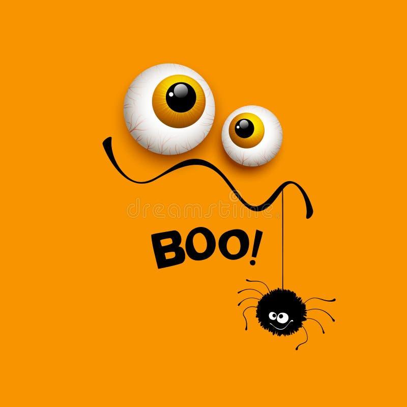 Occhi divertenti del mostro della cartolina d'auguri di Halloween Vettore illustrazione di stock