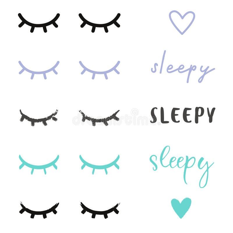 Occhi sonnolenti illustrati immagini stock