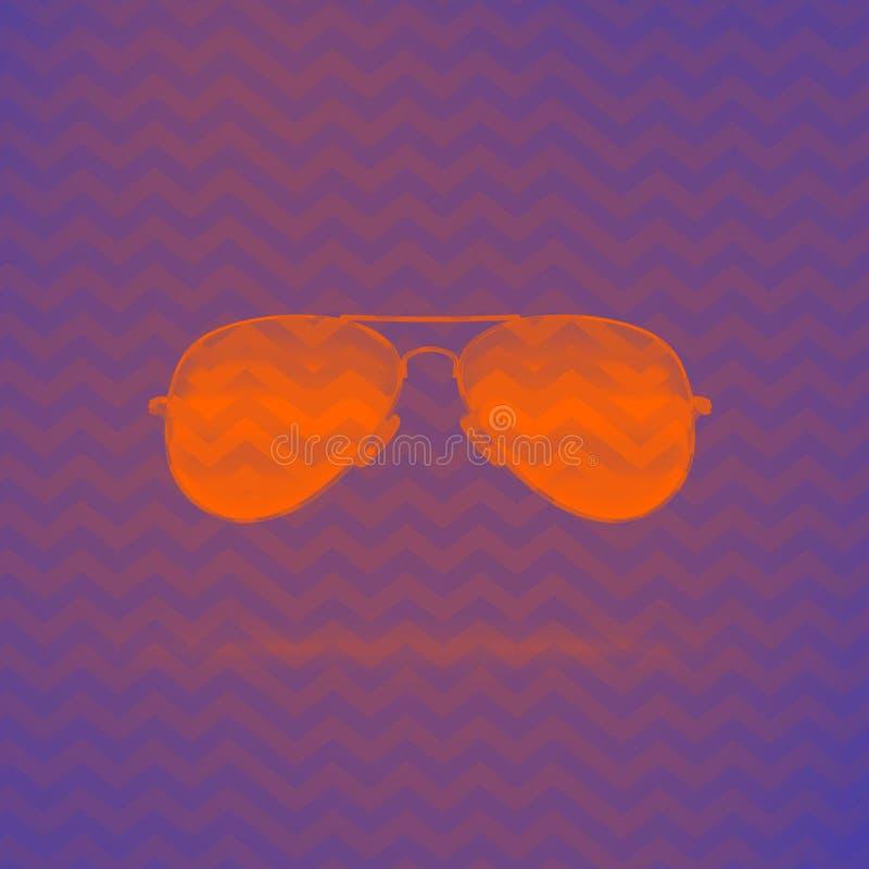 Occhiali da sole al neon arancio su fondo porpora con l'ornamento di zigzag illustrazione vettoriale