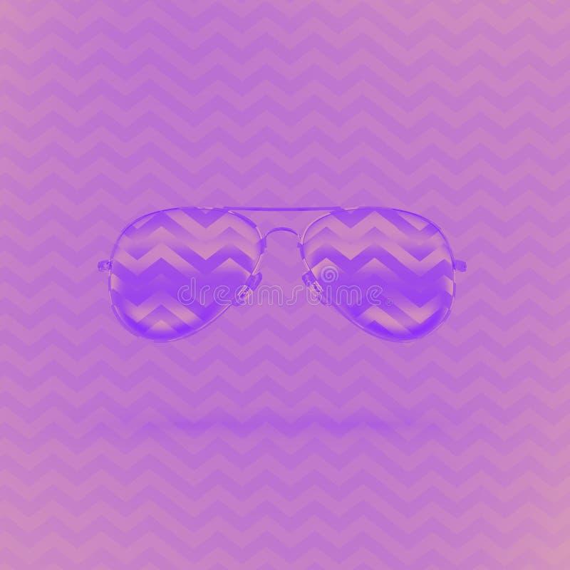Occhiali da sole al neon su fondo lilla con l'ornamento di zigzag illustrazione di stock