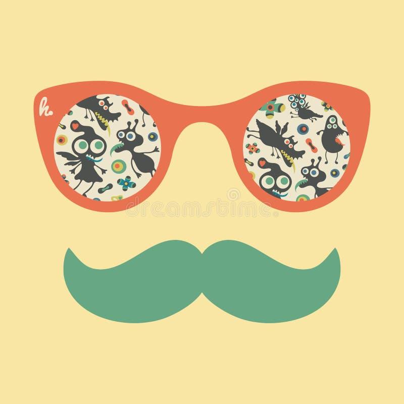Occhiali da sole d'annata dei pantaloni a vita bassa con i mostri felici variopinti royalty illustrazione gratis