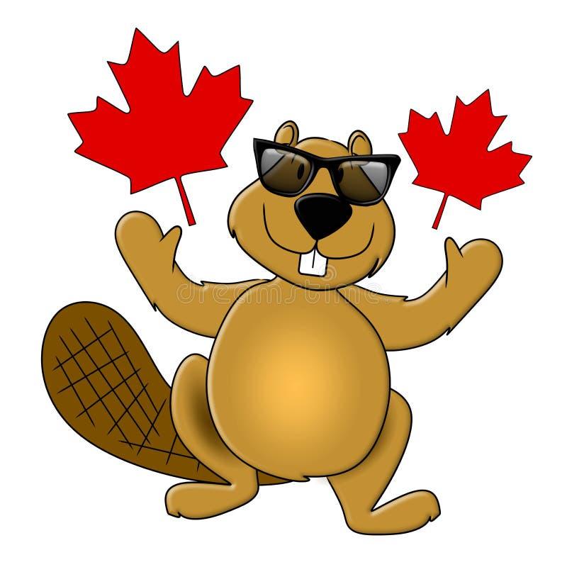 Occhiali da sole da portare del castoro di giorno del Canada illustrazione vettoriale