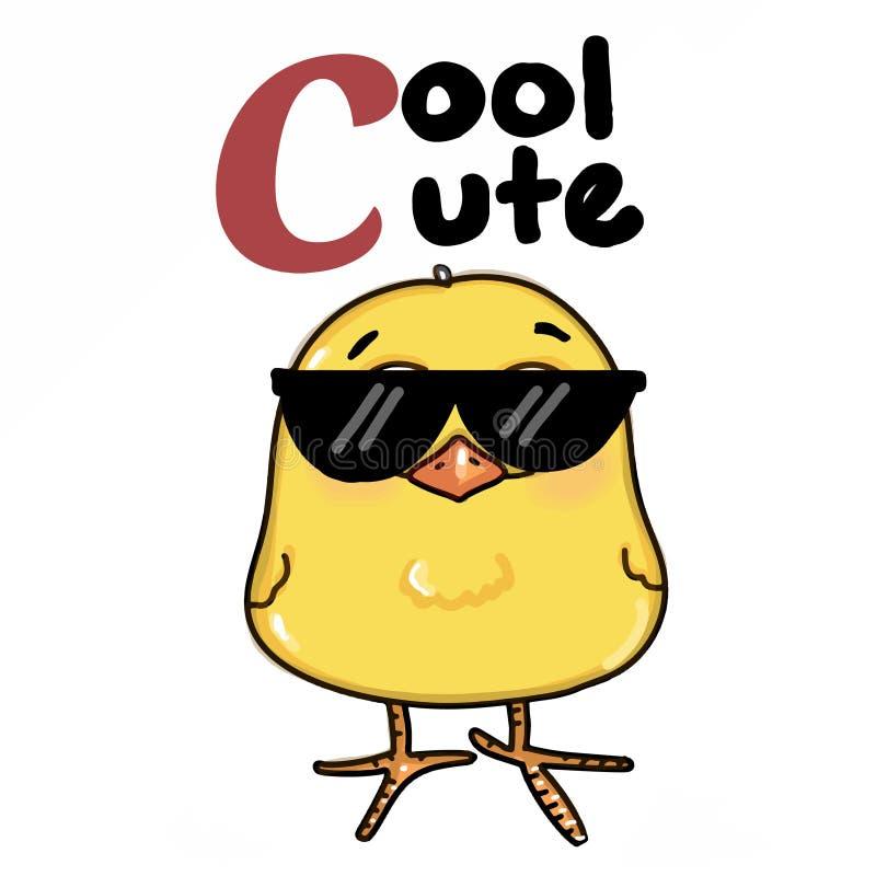 occhiali da sole del pulcino e fondo gialli freschi svegli di bianco dell'illustrazione del disegno del testo illustrazione di stock
