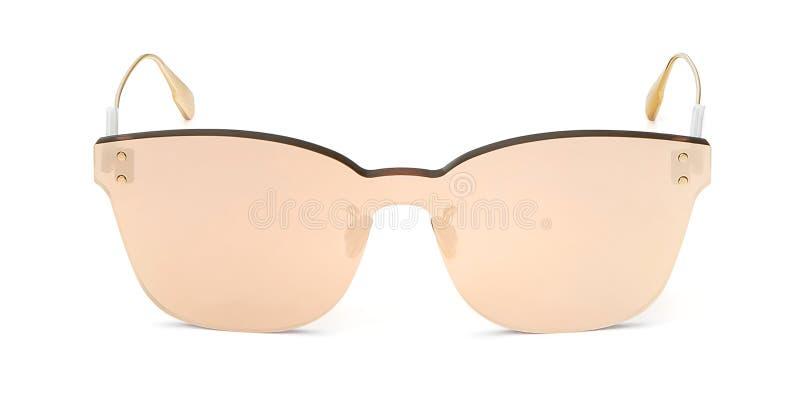 Occhiali da sole di vista frontale di estate isolati su fondo bianco Modello degli occhiali dello specchio per la vostra progetta immagini stock libere da diritti