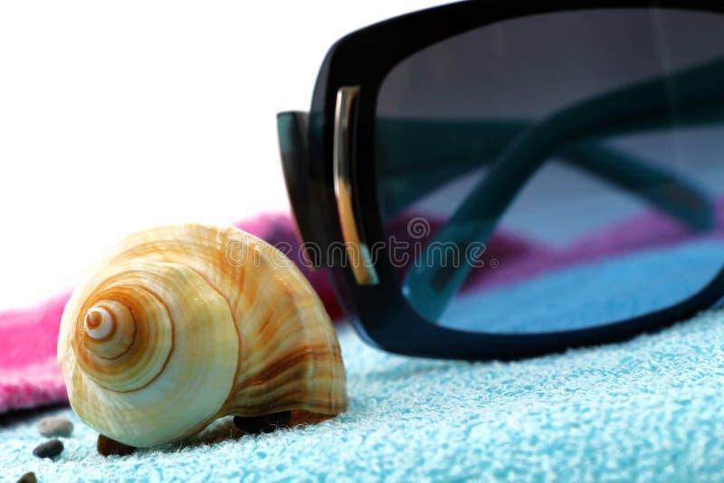 Occhiali da sole e conchiglia su un asciugamano di spiaggia fotografia stock