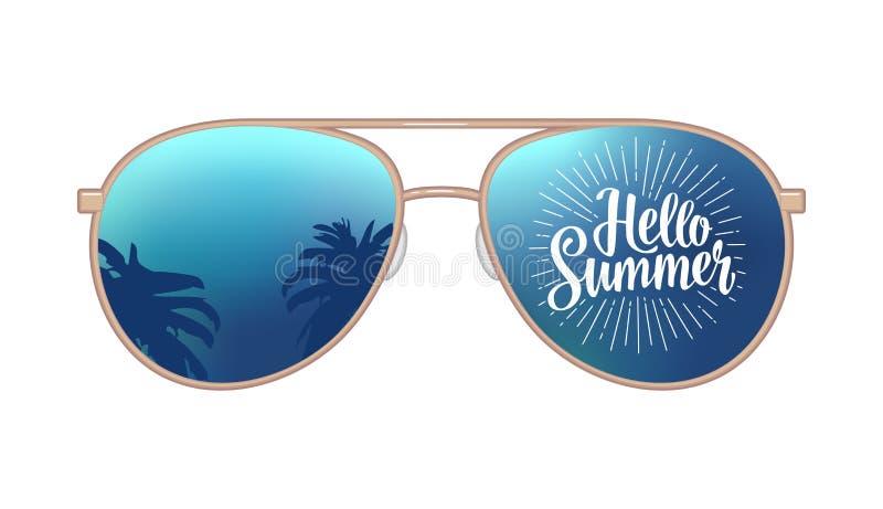 Occhiali da sole moderni dell'aviatore con la riflessione delle palme e ciao iscrizione di estate royalty illustrazione gratis