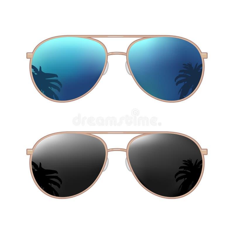 Occhiali da sole moderni dell'aviatore con la riflessione delle palme Illustrazione piana di colore di vettore royalty illustrazione gratis