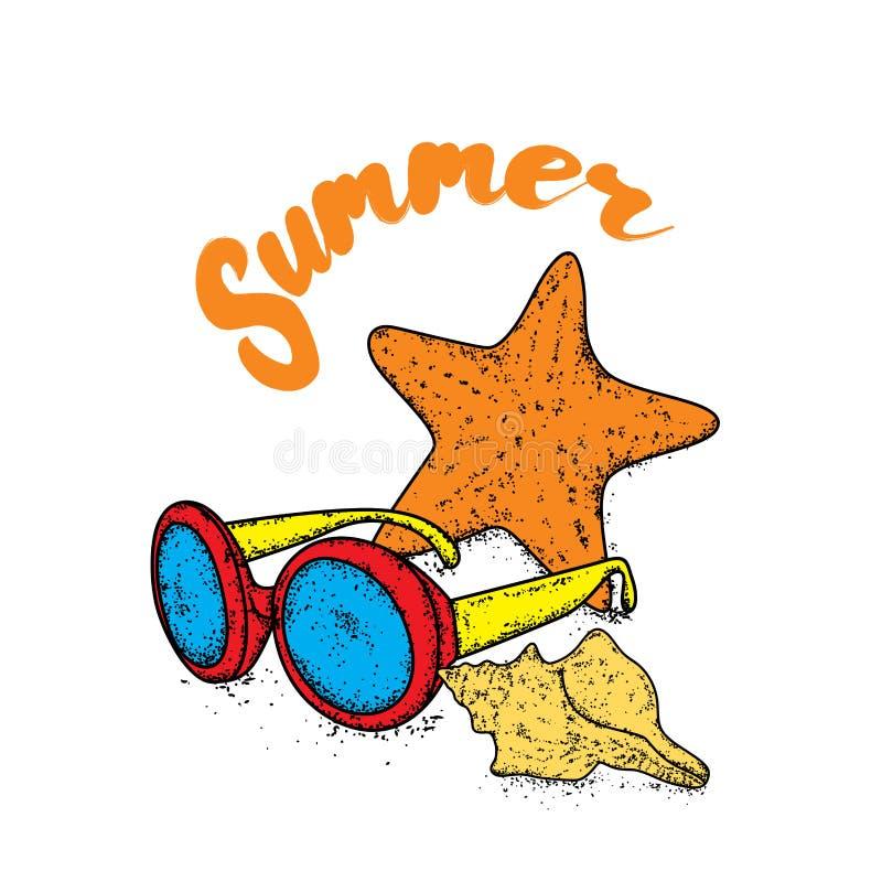 Occhiali da sole multicolori, stelle marine e coperture Illustrazione di vettore Mare e vacanza illustrazione vettoriale