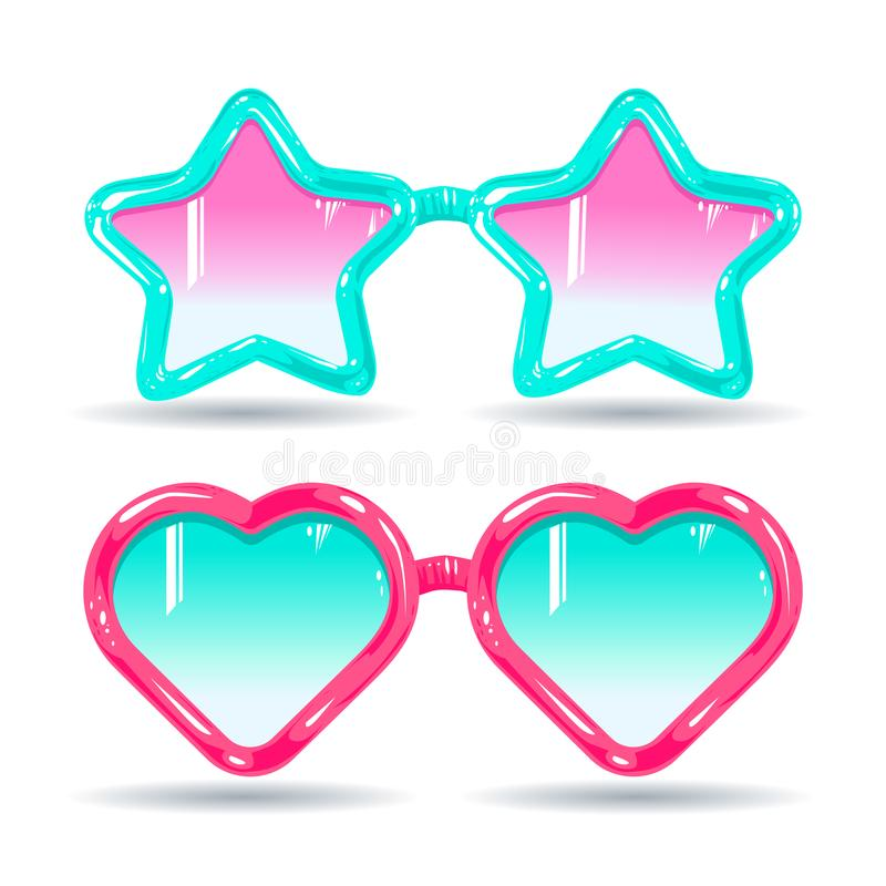 Occhiali da sole nello stile della discoteca, nel rosa di vetro di colore ed in blu-chiaro illustrazione di stock