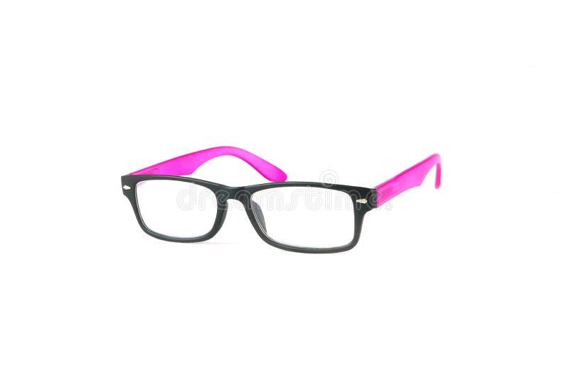Occhiali da sole neri e rosa della struttura isolati su fondo bianco fotografia stock libera da diritti