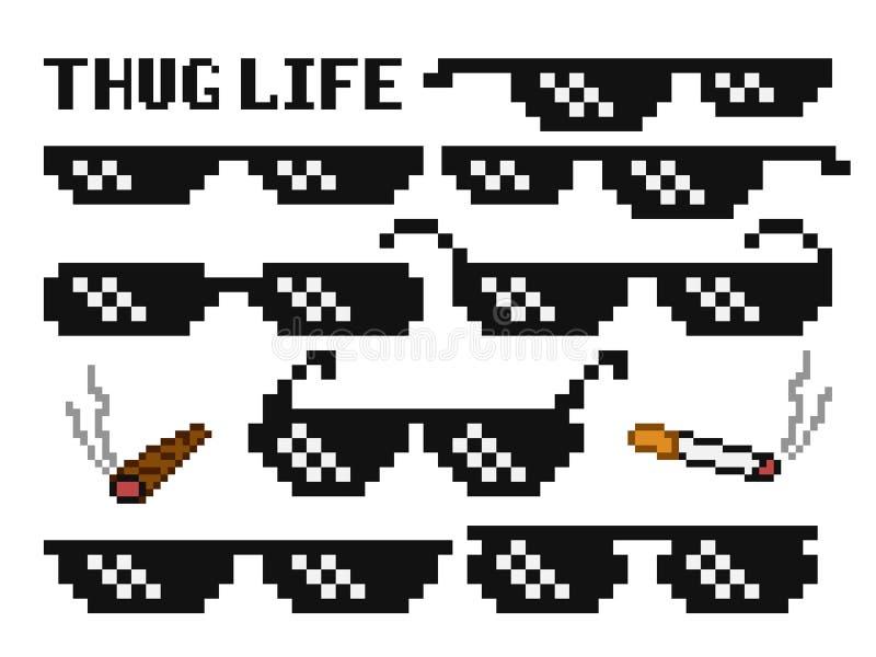Occhiali da sole pixelated divertenti del capo Gangster, vetri del delinquente ed insieme di vettore del sigaro illustrazione vettoriale