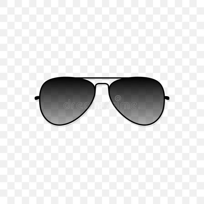 Occhiali da sole realistici con un vetro nero traslucido su un fondo trasparente Protezione dal sole e dall'ultravioletto royalty illustrazione gratis