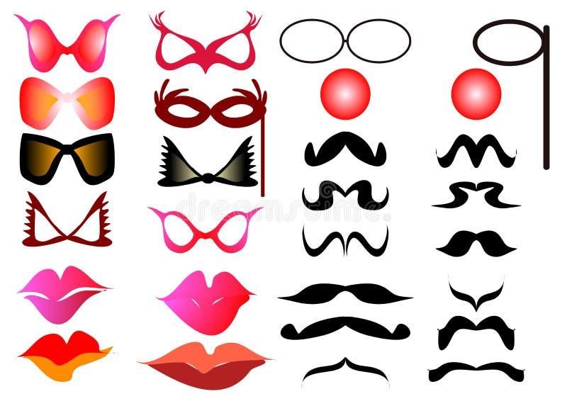 Occhiali dei baffi illustrazione di stock