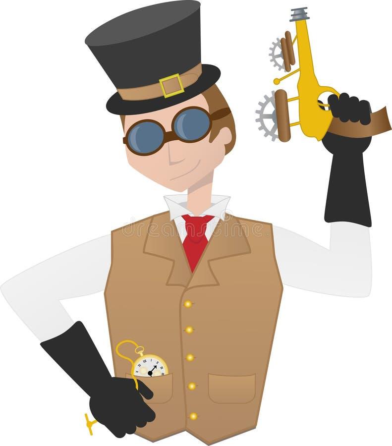 Occhiali di protezione dell'attrezzo del raygun della holding dell'uomo di Steampunk royalty illustrazione gratis