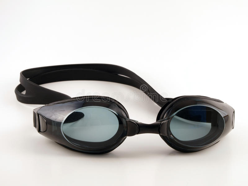 Occhiali di protezione neri di nuotata immagini stock